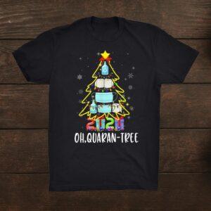Funny Quarantine Christmas Tree Ornament Mask Shirt