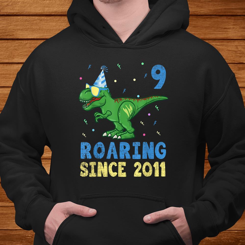 9 Year Old Shirt 9th Birthday Boy Dinosaur Kids Gift Party Shirt