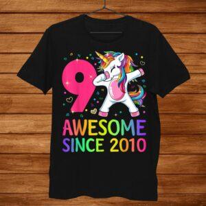 9 Years Old 9th Birthday Unicorn Dabbing Shirt Girl Party Shirt