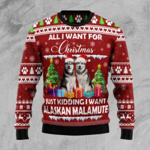 Alaskan Malamute Is All I Want For Xmas Ugly Christmas Sweater