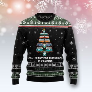 All I Want For Christmas Is Camping Ugly Christmas Sweater