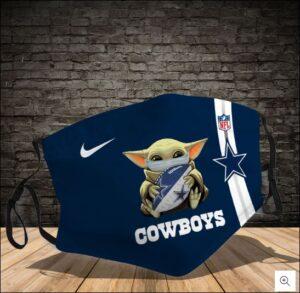 Baby Yoda Hug Dallas Cowboys NFL Cloth Face Mask