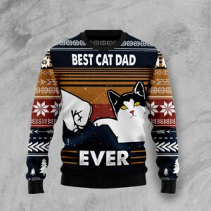 Best Cat Dad Ever Ugly Christmas Sweater