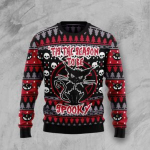 Black Cat Spooky Halloween Ugly Christmas Sweater