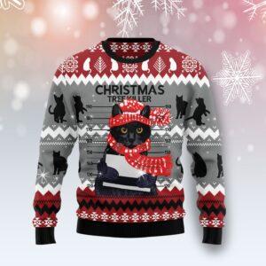 Black Cat Tree Killer Ugly Christmas Sweater