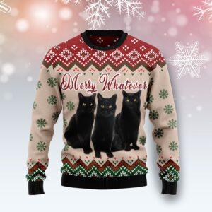 Black Cat Vintage Flower Ugly Christmas Sweater