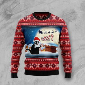 Black Cat What Ugly Christmas Sweater