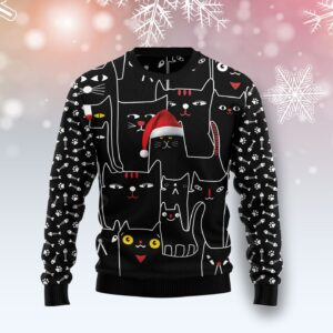 Black Cat With Noel Hat Ugly Christmas Sweater