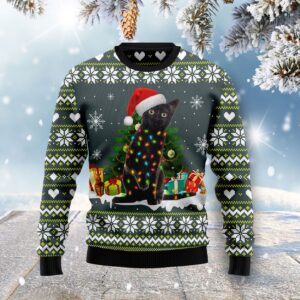Black Cat Merry And Bright Ugly Christmas Sweater