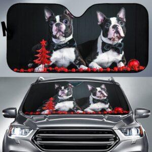 Boston Terrier Christmas Car Sun Shade