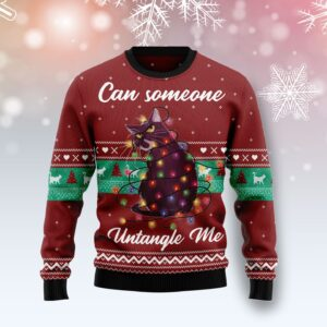 Can Someone Untangle Me Cat Ugly Christmas Sweater