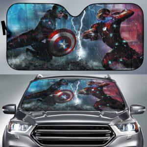 Captain America Vs Iron Man Car Sun Shade