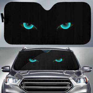 Cat Green Eyes Car Sun Shade