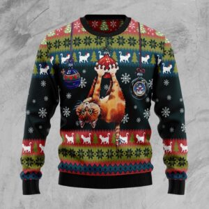 Cat Hanging On Xmas Tree Ugly Christmas Sweater
