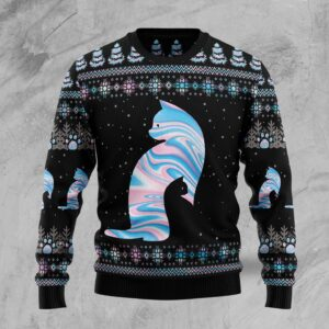 Cat Hologram Ugly Christmas Sweater