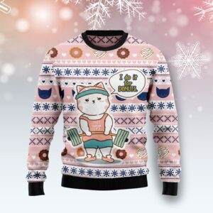 Cat I Do It For Donuts Ugly Christmas Sweater