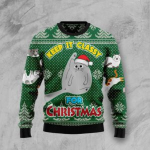 Cat Keep It Classy For Christmas Ugly Christmas Sweater
