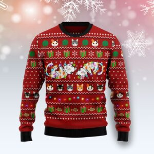 Cat Light Ugly Christmas Sweater