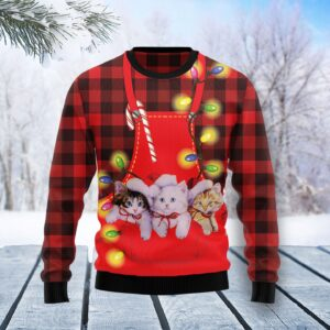 Cat Pocket Christmas Ugly Christmas Sweater