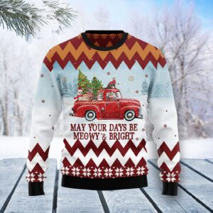 Cat Red Truck Ugly Christmas Sweater