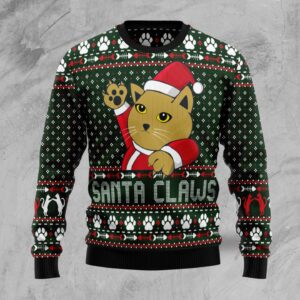 Cat Santa Claws Ugly Christmas Sweater