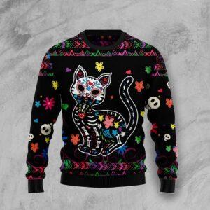 Cat Sugar Skull Ugly Christmas Sweater