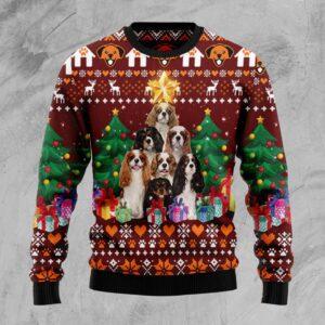 Cavalier King Charles Spaniel Pine Tree Ugly Christmas Sweater