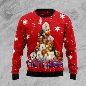 Christmas Tree Poodle Ugly Christmas Sweater