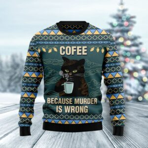 Coffee Cat Ugly Christmas Sweater