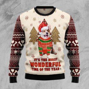 Corgi The Most Beautiful Time Ugly Christmas Sweater