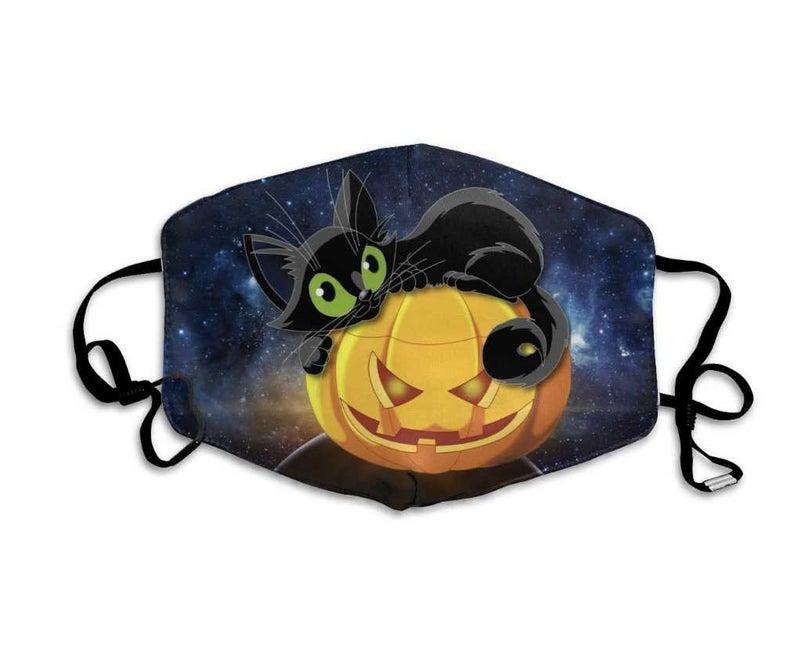 Cute Black Cat Halloween Pumpkin Face Mask