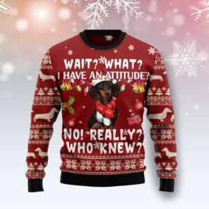 Dachshund Attitude Ugly Christmas Sweater
