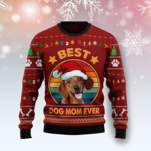 Dachshund Best Dog Mom Ever Ugly Christmas Sweater