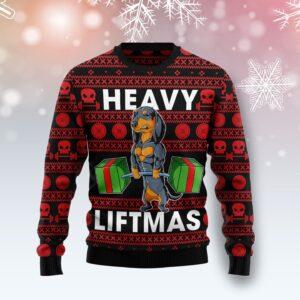 Dachshund Heavy Liftmas Ugly Christmas Sweater