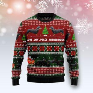 Dachshund Love Joy Peace Ugly Christmas Sweater
