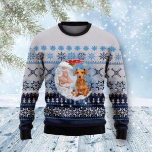 Dachshund Love Santa Moon Ugly Christmas Sweater