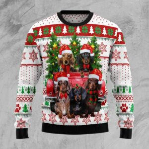 Dachshund Red Truck Ugly Christmas Sweater