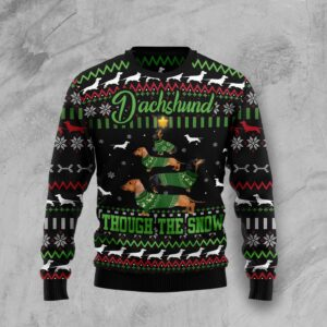 Dachshund Through Snow Christmas Ugly Christmas Sweater