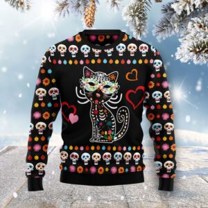 Day Of The Dead Black Cat Ugly Christmas Sweater