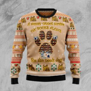Dog And Book Lover Ugly Christmas Sweater