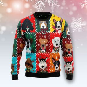 Dog Face Christmas All Over Print Ugly Christmas Sweater
