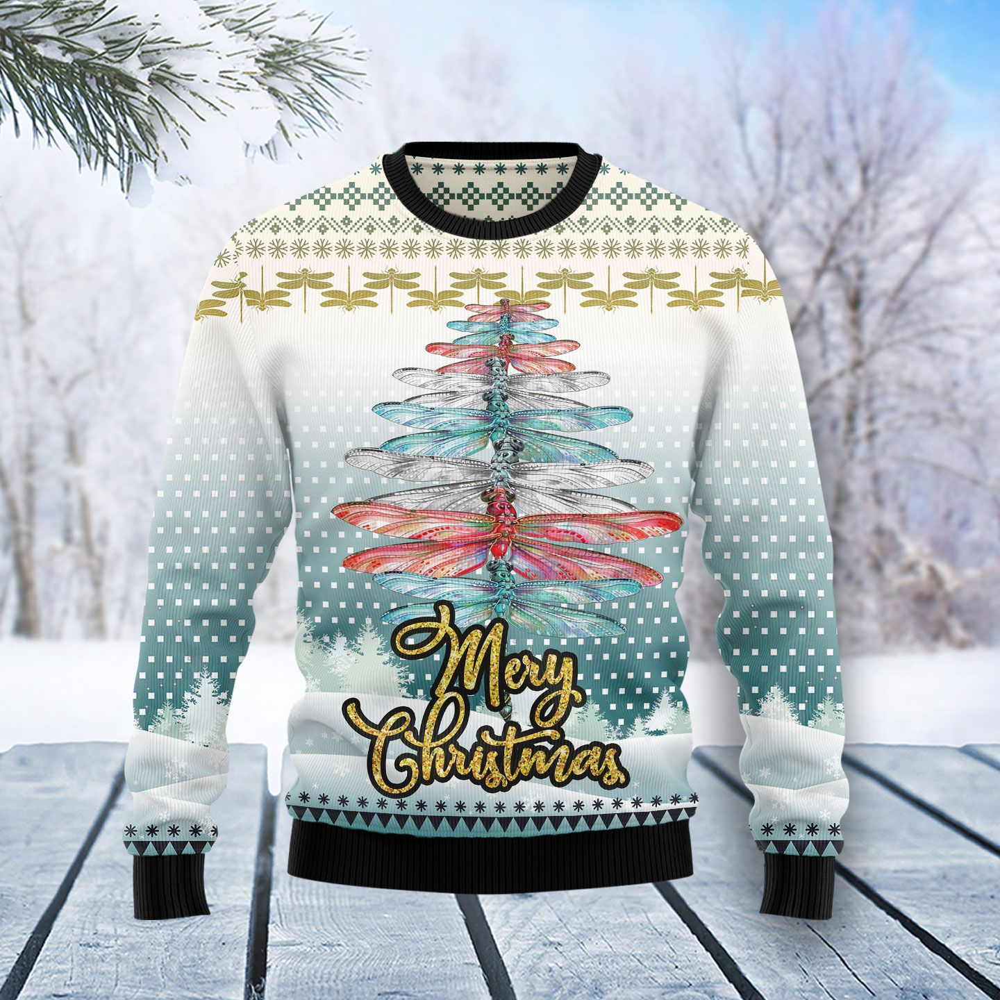 Dragonfly Color Christmas Tree Ugly Christmas Sweater