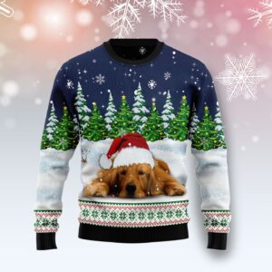 Dreaming Golden Retriever Under Snow Ugly Christmas Sweater