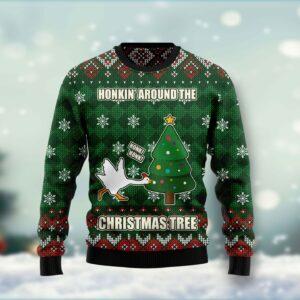 Duck Honkin Around Christmas Tree Ugly Christmas Sweater