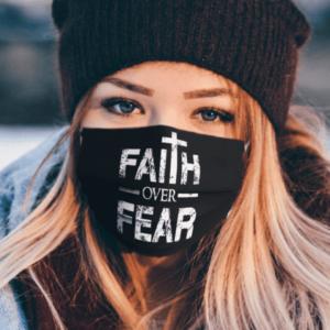 FAITH OVER FEAR DISTRESSED FACE MASK