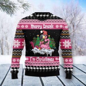 Flamingo Drunk Christmas Ugly Christmas Sweater