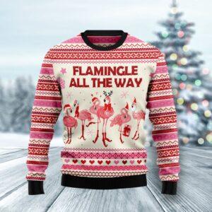 Flamingo Flamingle All The Ways Ugly Christmas Sweater