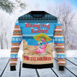 Flamingo Hanging Loose Ugly Christmas Sweater