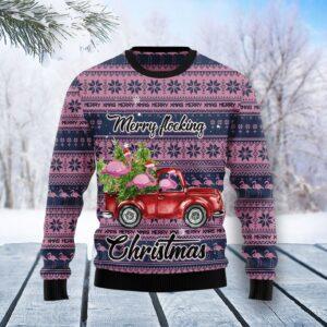 Flamingo Merry Flocking Christmas Ugly Christmas Sweater