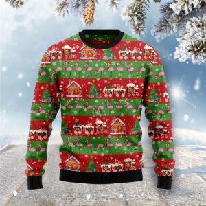 Flamingo Snow Ugly Christmas Sweater